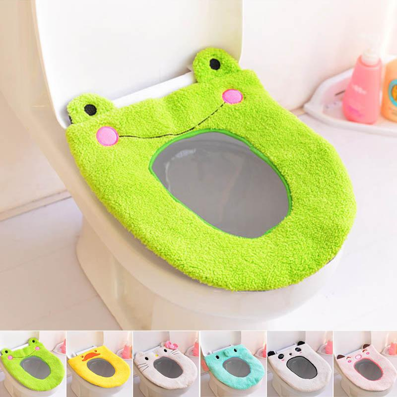 Toilet Seat Warmer Cover.Cartoon Washable Toilet Mat Portable Toilet Seat Cover Warmer Bathroom Accessories Plush Toilet Cushion