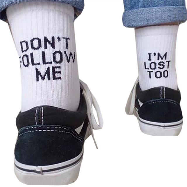 Graphic Print Quotable Socks