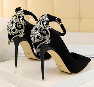 High Heel Embroidered Ankle Banquet Shoes