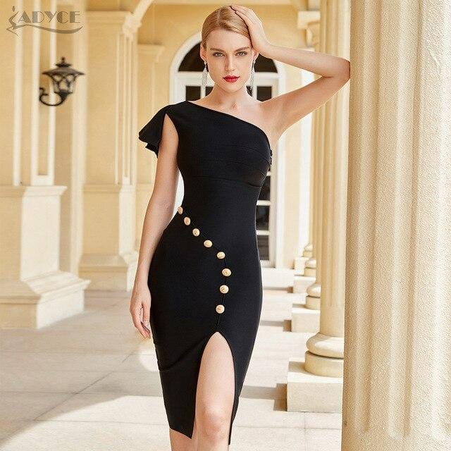 Sleeveless One Shoulder Party Dress