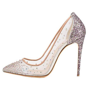 Embellished Crystal High Heel Lace Shoes