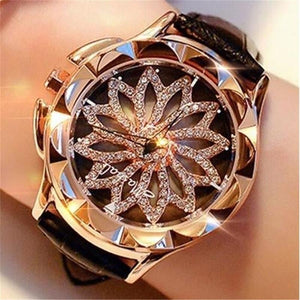 Gold Rhinestone Flower Engraved Watch