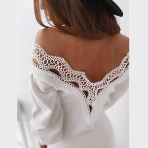 Backless Lace V-neck Long Sleeve Dress