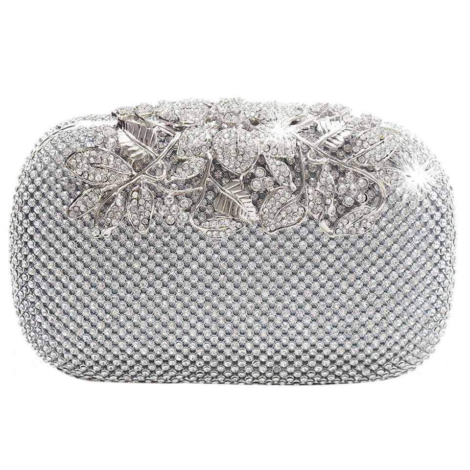 Silver Diamante Evening Clutch