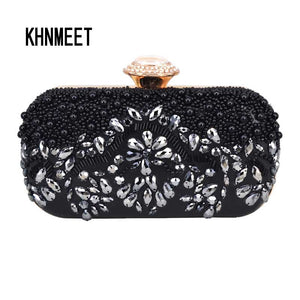 Black Beaded Clutch Bag Luxury Pochette Handbag