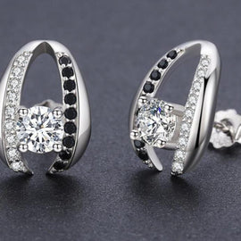 Genuine 925 Sterling Silver Jewelry Cute Engagement Stud Earrings for Women T072