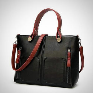 Belle Lady Faux Leather Handbag - Black&Burgundy