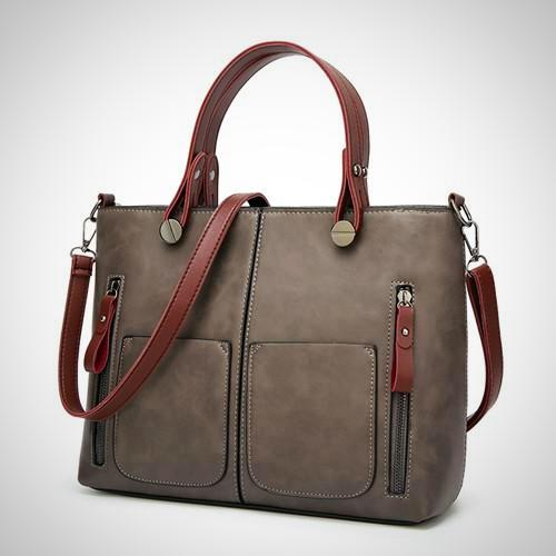 Belle Lady Faux Leather Handbag - Gray -