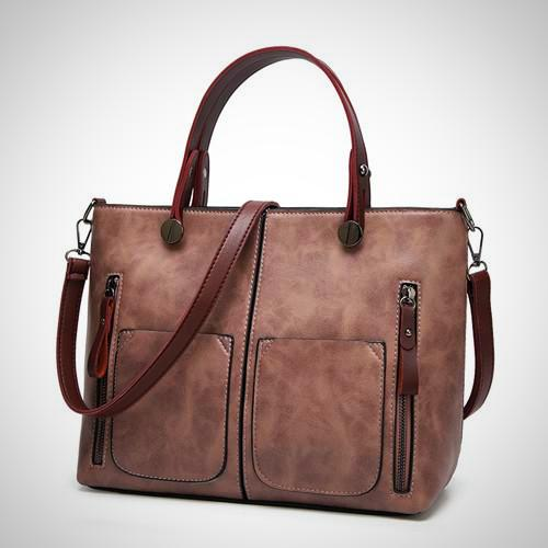 Belle Lady Faux Leather Handbag - Pink-