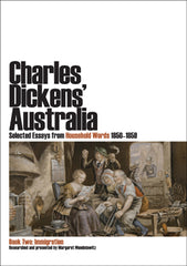 Book cover of Charles Dickens' Australia, volume 2, featuring a Victorian-era painting depicting a family gathered around a newspaper.