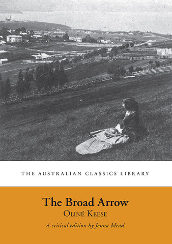"The cover of ""The Broad Arrow"" with a grey scale photo of a woman sitting on the hill facing away to look over the horizon with houses in the distance."