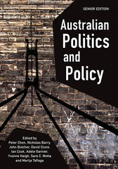 The cover of Australian Politics and Policy textbook showing the title and the outline of the roof of Parliament House superimposed on a brick wall.