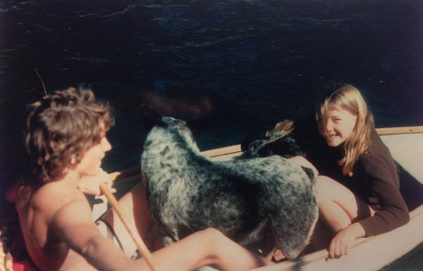 Two dogs, Rowena and her brother sitting in a boat.