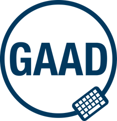 A logo showing the acronym GAAD in a circle with a symbol of a keyboard in the right hand side of the circle below the acronym.