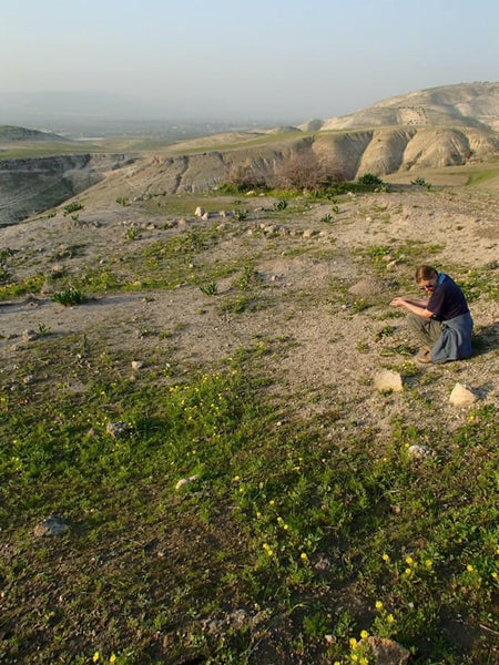 A grassy landscape with patches of dirt and hills in the distance. A woman is shown crouching on the right and looking at the ground.