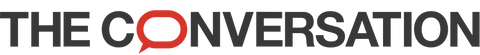 The Conversation logo featuring red text on a white background