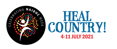 """Official NAIDOC Week 2021 logo featuring the slogan """"Heal Country!"""" and the dates 4-11 July 2021"""