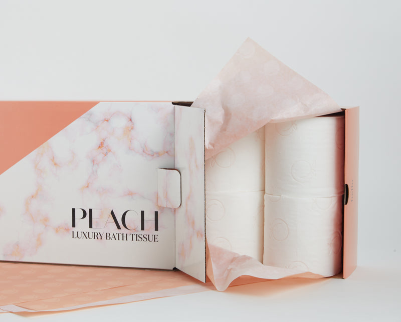 Box of Peach Luxury Bath Tissue
