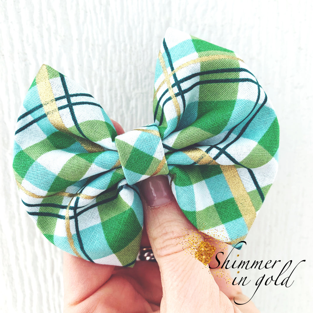 St. Patricks Day Plaid Fabric Bow