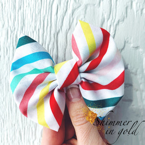 Rainbow Stripe Fabric Bow