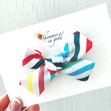 Rainbow Stripe Hand Tied Fabric Bow