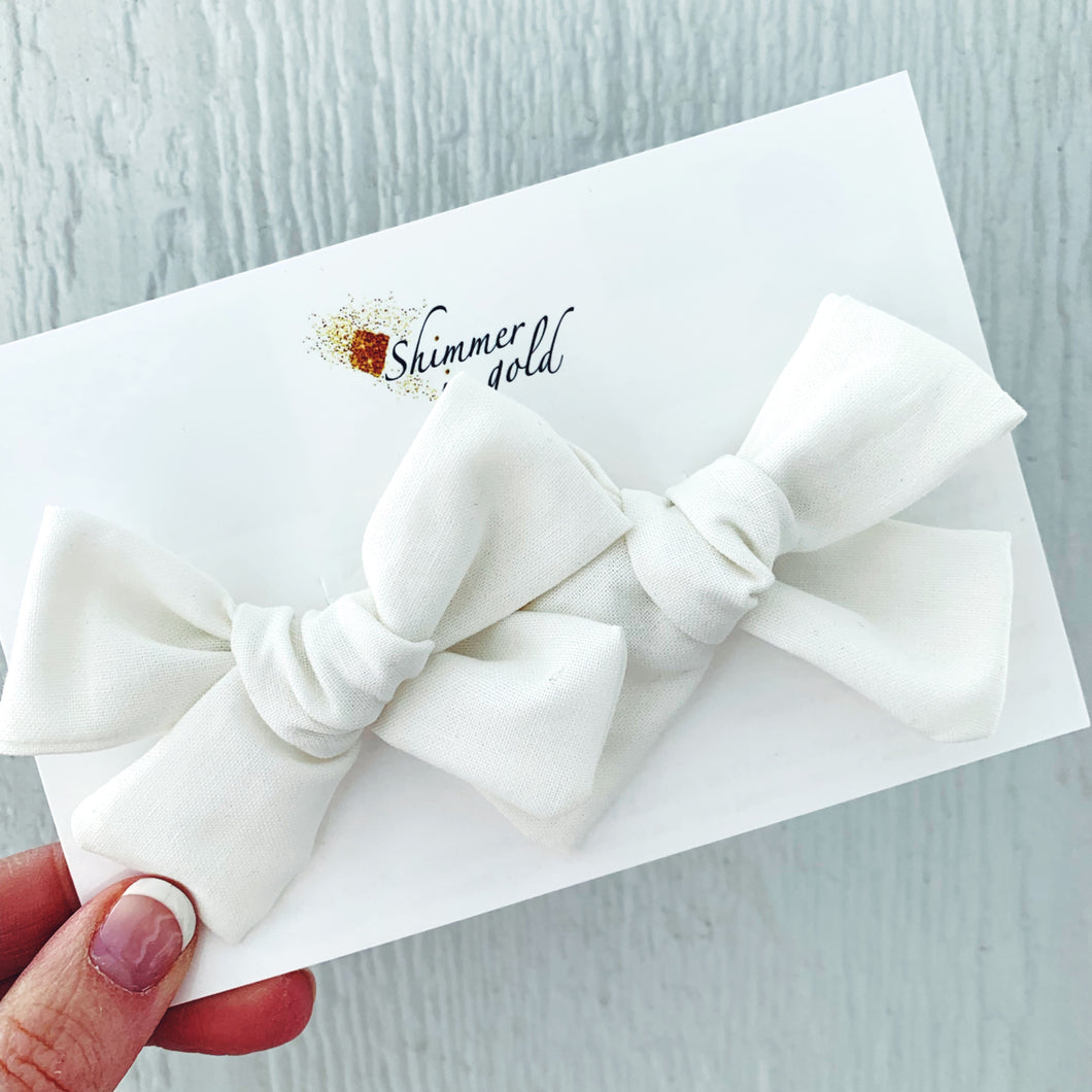 White Hand Tied Fabric Pig Tail Bows