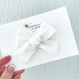 White Hand Tied Fabric Bow