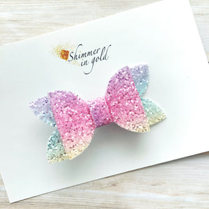 Pastel Rainbow Layered Glitter Bow - 3 inch