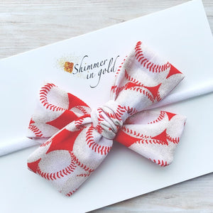 Baseball Hand Tied Fabric Bow