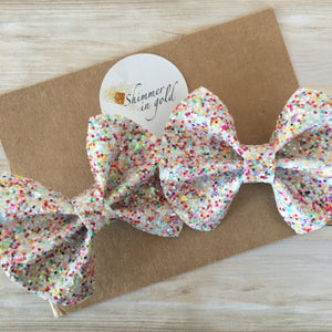 Birthday Sprinkles Specialty Glitter Pig Tail Bows
