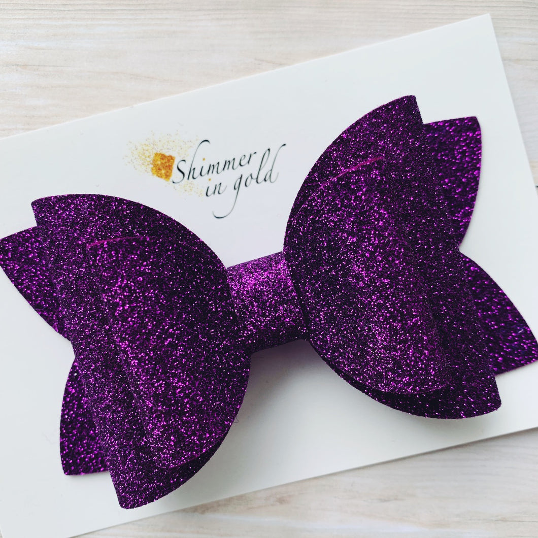 Royal Purple Felt Lainey Bow - 5 inch