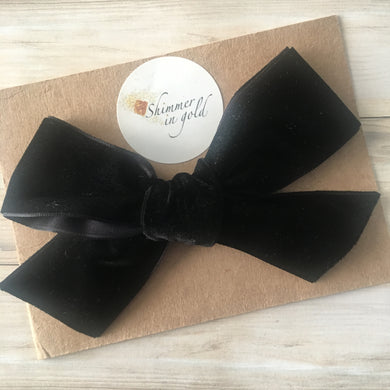 Black Hand Tied Velvet Statement Bow- 5 inch