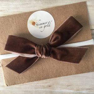 Brown Hand Tied Velvet Bow