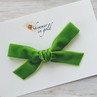 Lime Green Hand Tied Velvet Bow