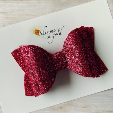 Raspberry Felt Double Layered Signature Bow