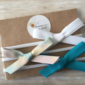 Set of Three Watercolor Hand Tied Bows