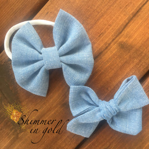 Denim Chambray Fabric Bow