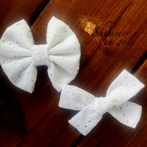 White Eyelet Fabric Bow