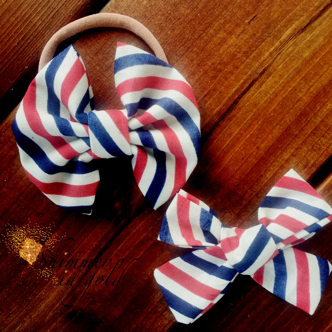 Parlor Stripes Fabric Bow (Hand tied and Pinch)