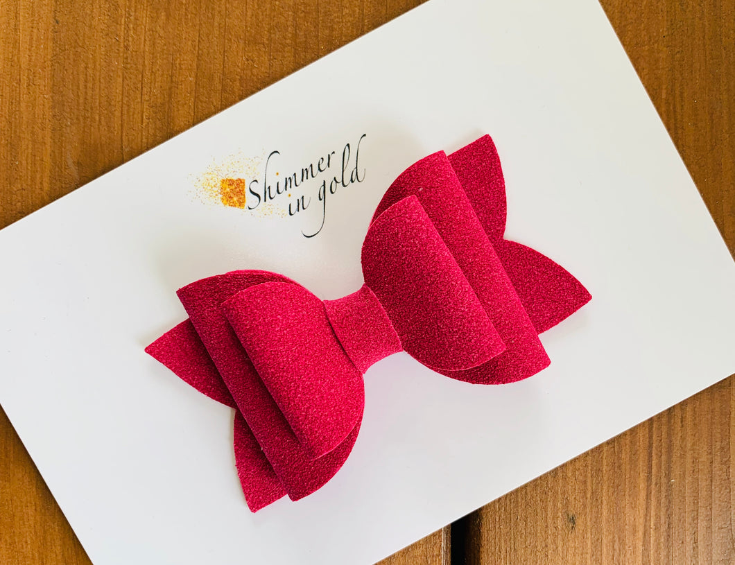 Berry Faux Suede Layered Lainey Bow