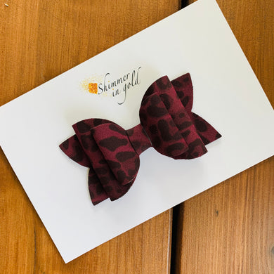 Maroon Leopard Faux Suede Layered Lainey Bow