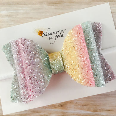 Pastel Rainbow  5 inch Double Layered Glitter Bow