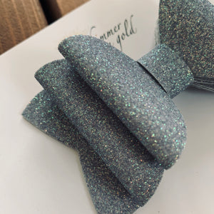 Iridescent Silver Glitter Felt Double Layered Bow (3 in, 4 in and 5 in bows)