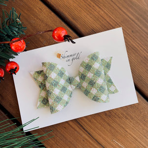 Holiday Green Check Glitter Harper Bow