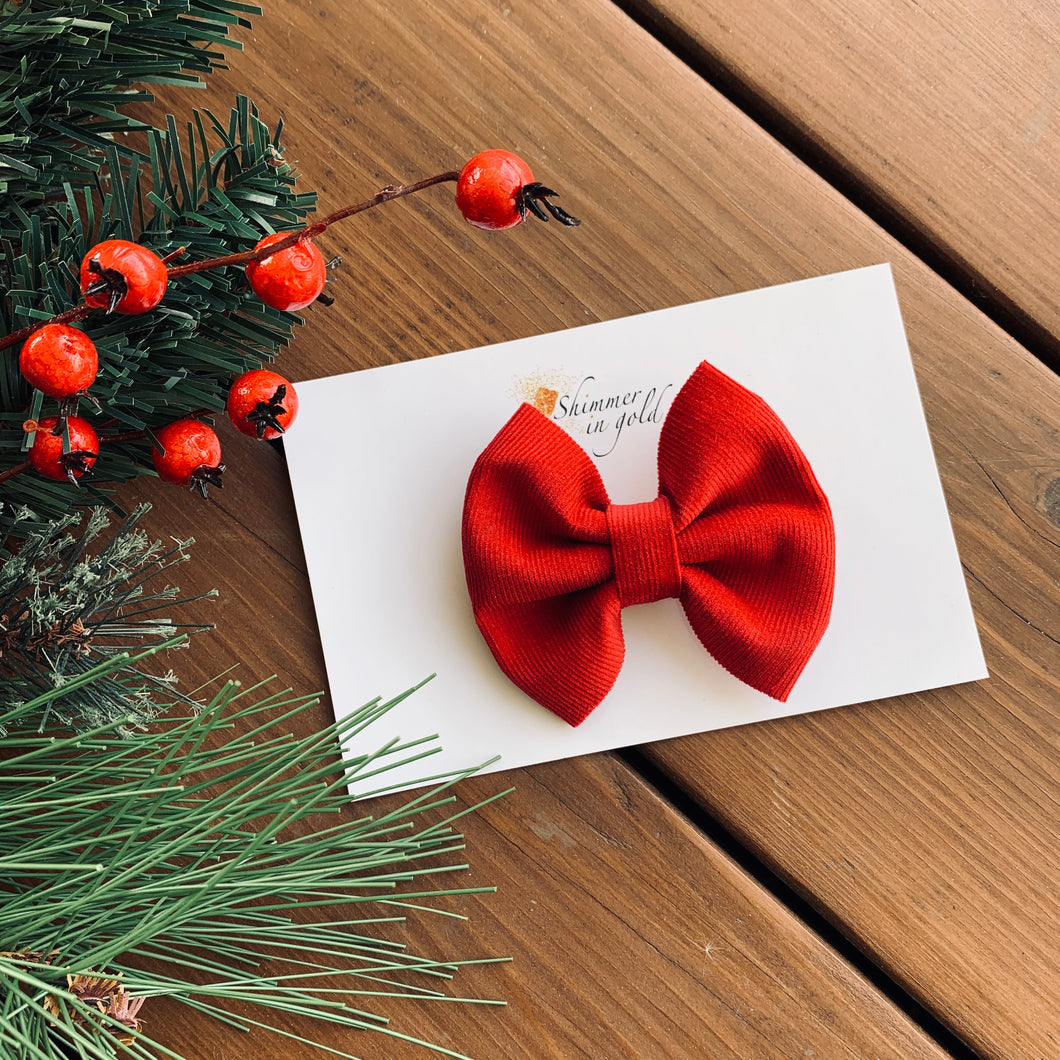 Red Corduroy Pinch Fabric Bow