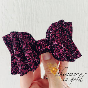 Cranberry Double Layered Glitter Bow