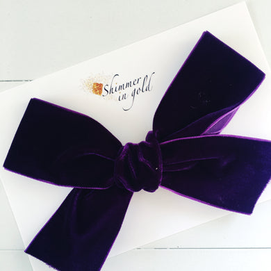 Plum Hand Tied Velvet Statement Bow - 5 inch