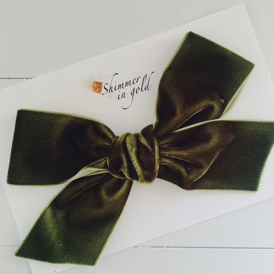 Olive Hand Tied Velvet Statement Bow - 5 inch