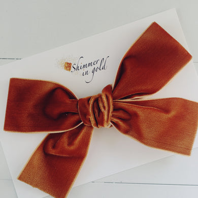 Ginger Hand Tied Velvet Statement Bow - 5 inch