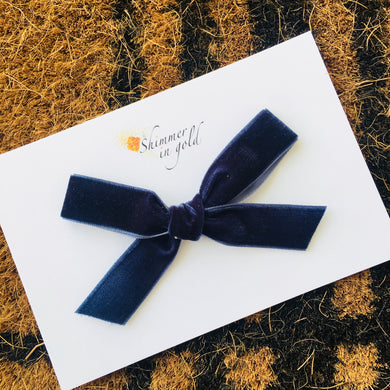 Navy Hand Tied Velvet Bow